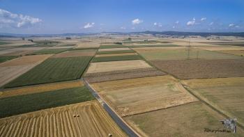 Luftaufnahme des Schröcker Feldes im Spätsommer.